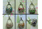 HANDBAG PENDANT NECKLACE SILVER FILIGREE JOINTED CAGE YELLOW GREEN PINK BLUE