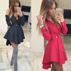 2016 Lady Checked Print Lace-Up Stylish Turn-Down Collar Long Sleeve Shirt Dress