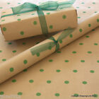 Green Spots Patterned Kraft Brown Wrapping Paper 5 or 10 mtrs Vintage Style Wrap
