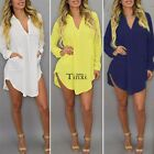 Solid Women Casual Loose Long Sleeve Chiffon Shirt Blouse Tops Dress Party  Home