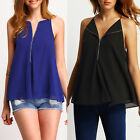 Women Sexy Casual V-Neck Loose Sleeveless Chiffon Zipper Tops Blouse T-Shirt