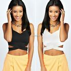 Sexy Women Sleeveless Shirt Summer Casual Bandage Blouse Crop Top Clubwear Tank