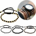 Women Men's Braided Bracelet 4MM Balls Beaded Lover Friendship Leather Bangle
