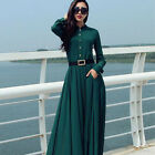 New Fashion Women Ladies Long Sleeve Vintage Slim Party Cocktail Long Maxi Dress