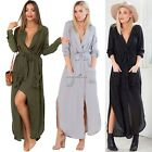 Women Sexy V Neck Split Dress Long Sleeve Chiffon Beach Party Maxi Shirt Dress