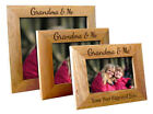 Personalised Grandma & Me Wooden Oak Landscape Photo Frame, Engraved Gift