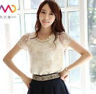 Fashion Women Sheer Sleeve Embroidery Top Blouse Lace Crochet Chiffon Shirt