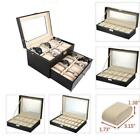 6 10 12 20 24 Slots Leather Watch Box Display Glass Top Jewelry Case Organizer