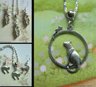 CAT PENDANT CHARM NECKLACE EARRINGS OR SET PIERCED EARS SILVER TONE MOUSE