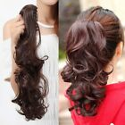 US Claw Ponytail hair extensions clip in human made long blonde hair MUo7