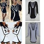 Sexy Ladies Long Sleeve Round Neck Black & White Casual One Piece Dress