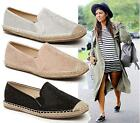 Womens Flat Diamante Espadrille Shoes Holiday Pumps Casual Comfort Shoes Size 3-