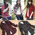 Women Casual Long-Sleeve Loose Plaid Checked T shirt Tops Blouse Fashion New