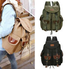 New Men's Canvas Faux Leather Vintage Racksack Hiking Military Satchel Backpack