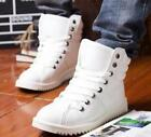 Mens Faux Leather Round Toe Lace Up High Top Sneaker Ankle Boot Tranner Shoes