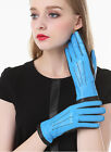 lady's color blocking leather gloves winter warm combined color leather gloves