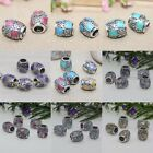 Multi Color Enamel Barrel Shape Puzzle Alloy DIY Spacer Bead Fit Charm Bracelet