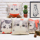 "Cartoon Animal Adorable Cat Family Pillow Case Cushion Cover Square 18"" Linen"