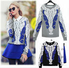 Women Ladies Loose Knitted Crewneck Sweater Sleeve Pullover Tops Knitwear S26
