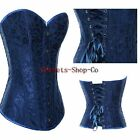 Sexy Floral Blue Overbust Lace up Boned Basques Corsets Top Lingerie S-2XL