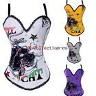 Punk Lion Tattoo Hook & Eye Underwire Corset Outerwear Rock Roll Party Costume