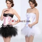 Sexy Lingerie Satin Lace up Boned Corset/Basques Top Tutu Mini Skirt 3 PCS Set