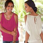 Fashion Women Off shoulder Lace Up Crew Neck T-Shirt Tops Blouse Casual Shirt