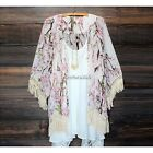 Lady Lace Floral Printed Long Sleeve Chiffon Kimono Cardigan Coat Tops Blouse N4