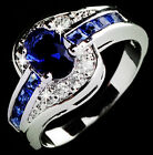 Women Blue Sapphire alloy Engagement Ring Size 7 8 9 Rings Jewelry