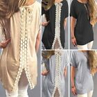 Womens Ladies Back Split Casual Shirt Dress Blouse Lace T-Shirt Long Tank Tops