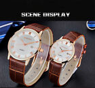 Luxury Fashion Mens Womens Faux Leather Band Dress White Ultra-thin Case Watch