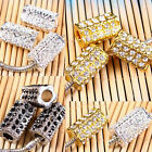 5/10/20/50PCS Austrian Crystal Flower Column Tube Charm Big Hole Beads Findings