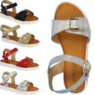 GIRLS FLAT SPARKLY GLADIATOR SANDALS KIDS OPEN TOE ANKLE STRAP SHINY SUMMER SHOE