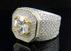 Men's Yellow Gold Finish Solitaire Eternity Silver Ring with Sim. Diamonds