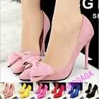 Sweet Womens Bowknot Pointed Toe High Heels Stiletto Faux Suede Pumps New Shoes