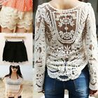 100% cotton Women Lace crochet knitted Handmade top casual Blouse lace shorts