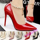 Elegant Ladies Pointy Toes High Heels Strap Pearl Diamond Stiletto Court Shoes