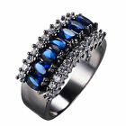 Women's Blue Sapphire Crystal Ring 10KT Black Gold Filled Wedding Band Size 6-12