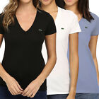 Women's Lacoste Short Sleeve V-Neck T-Shirt 100% Cotton Jersey Classic Fit Tee