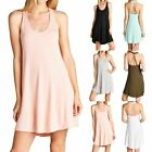 Solid Sleeveless Scoop Neck Caged Open Back Tunic Dress Casual Cute Rayon S M L