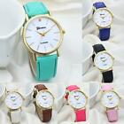 Geneva Womens Fashion Leather Band Watches Stainless Steel Quartz Wrist Watch