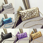 CHIC Fashion Women Faux Leather Sequin Handbag Bag Messenger Crossbody Clutch