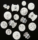 """Pair Clear Quartz Stone """"Shattered Look"""" Single Flare Ear Plugs Tunnels Gauges"""