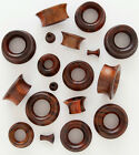 """Pair Organic Brown Sono Wood Single Flare Tunnels Ear Plugs ( 8G to 1"""" 13 Sizes)"""