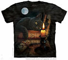 Black Cat Tee Shirt w/ Charmed Symbol Book of Shadows Witching Hour Tee Pentacle
