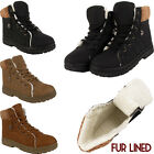 LADIES ARMY COMBAT FLAT WOMENS GRIP SOLE FUR LINED WINTER ANKLE BOOTS SHOES SIZE