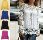 XXXXL Women Lace Crochet Floral Tops Long Sleeve Pullovers Chiffon Tunic Blouses