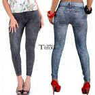 Sexy Denim Look Blue Stretchy Skinny Jeggings Leggings HOT Pants Jeans Womens