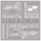 Personalised Wedding Picture - Word Art  in Light Grey on Canvas in 3 Sizes