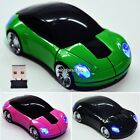 Mouse Mice For Laptop PC USB Receiver 2.4G 1800CPI Car Shape Wireless 3D N4U8
